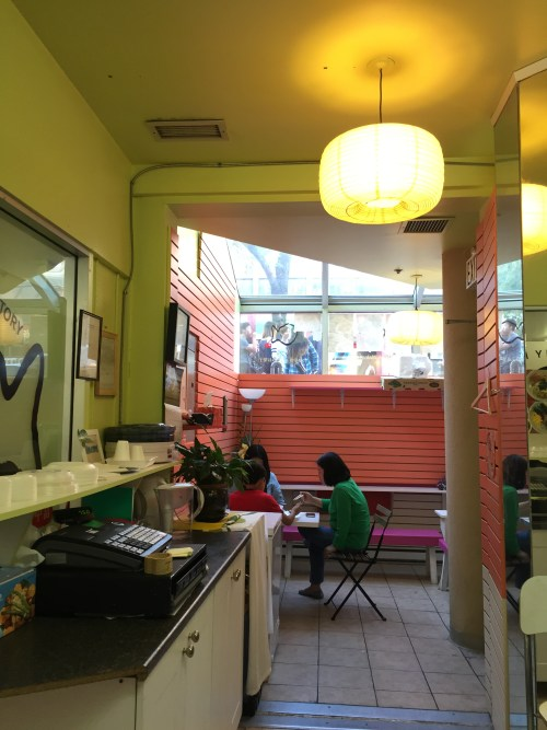 Inside the food stall.