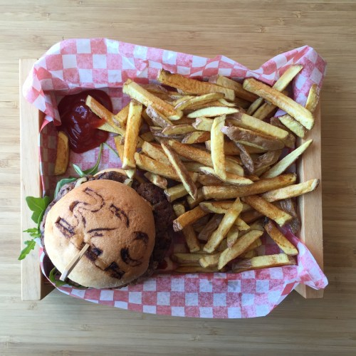 Molisana Burger with fries.