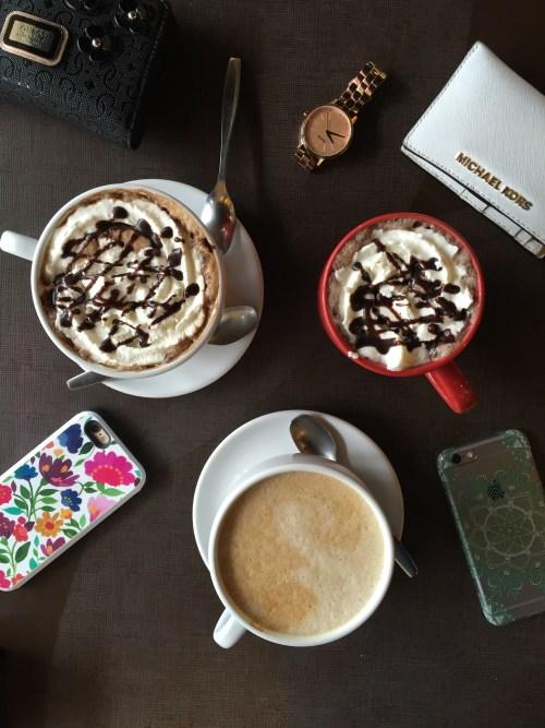 Lattes, mocha and hot chocolate.