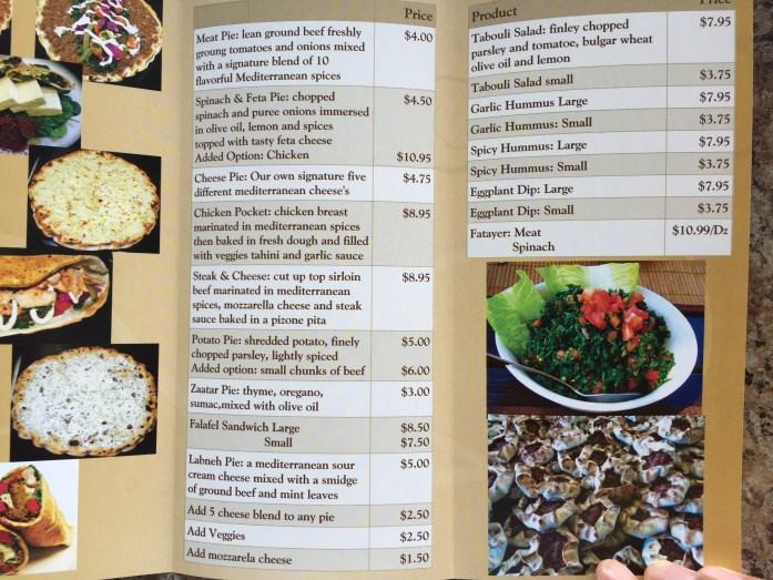 Village Pita Bakery menu.