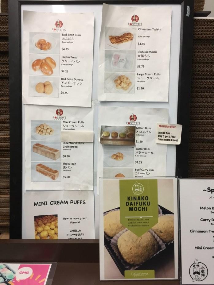 Daily offerings at Oguraya Bakery.