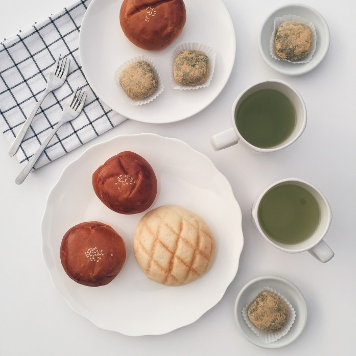 My flat lay on Instagram: red bean buns, daifuku mochi & melonpan with matcha.