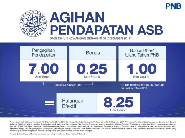 cara pengiraan dividen asb 2017 bonus khas