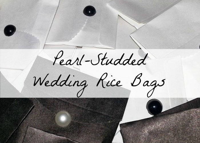 Pearl-Studded Wedding Rice Bags