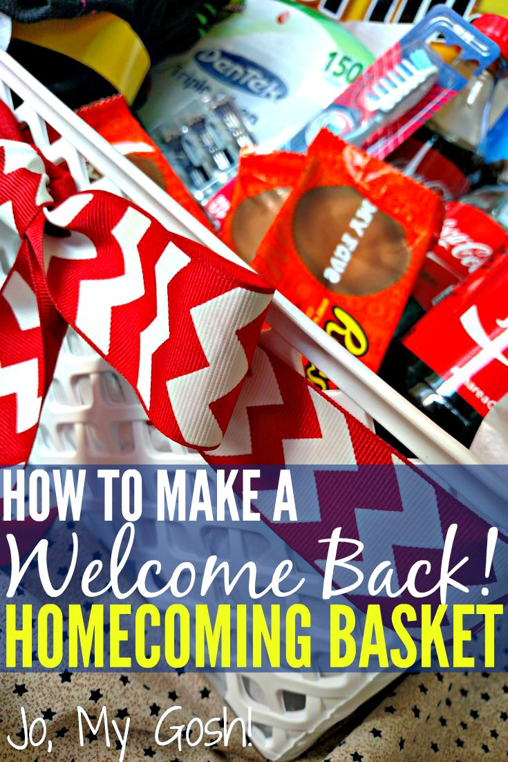 how to make a welcome back homecoming basket