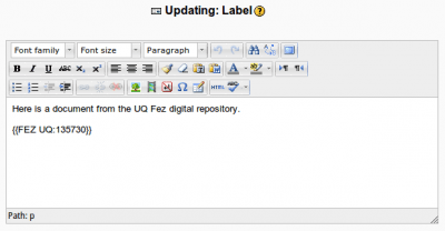 Inserting a Fez document into Moodle content