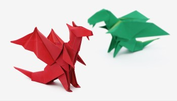 Origami: T-Rex V2 - Instructions in English (BR) - YouTube | 200x350