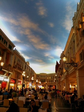 Venetian Macau food court beneath this simulated daytime sky.