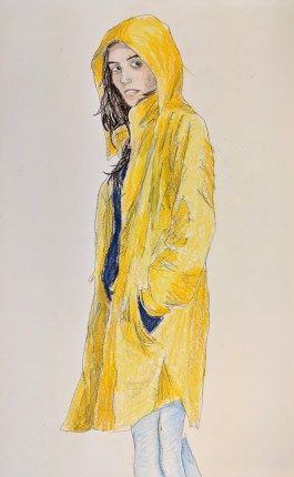 Lady wearing a raincoat