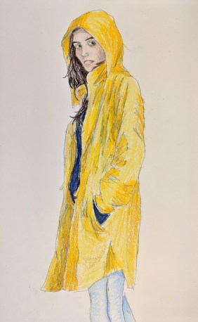 Lady wearing a raincoat