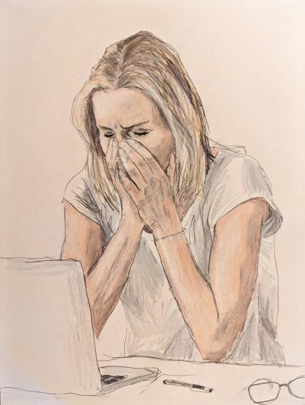 Lady sneezing (or crying or yawning)