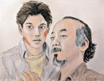 Mr. Miyagi and Daniel Larusso from Karate Kid