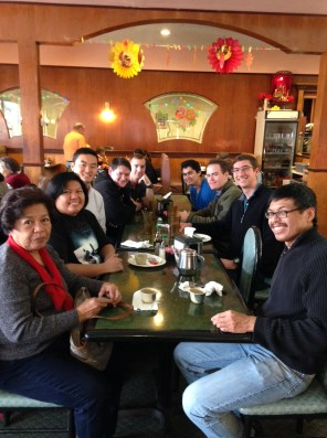 From left, my mother, Liza, Jeremy, Brenden, Joel, Juan, Colin, Leland and I eat ate Century Super Buffet in Queens Village on Nov. 28, 2015. (Photo courtesy of Jeremy Lee)