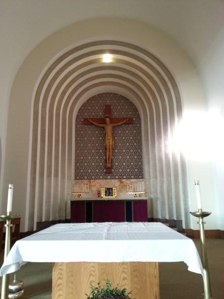 The altar of St. Antoine Daveluy Parish at Corpus Christi Church in Auburndale, MA.