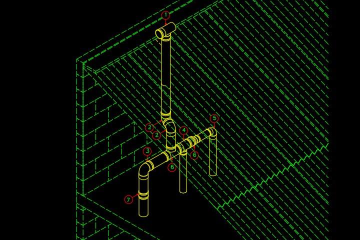 Detalhe de um barrilete de ventilação em dwg