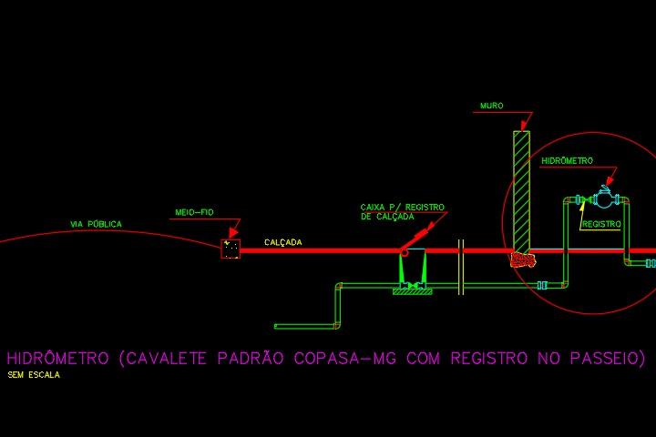 Detalhe em DWG de um hidrômetro e a entrada de água