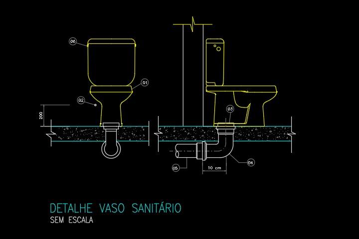 Detalhe em DWG da ligação do vaso sanitário
