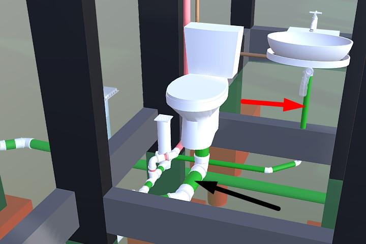 Modelo 3D indicando tubulação primária e secundária de esgoto.