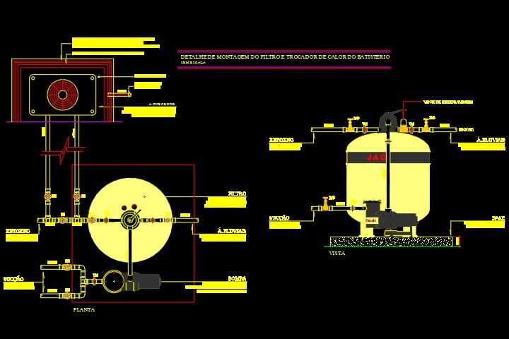Detalhe de filtro de piscina em formato dwg