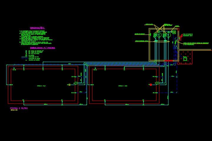 Projeto hidráulico de uma piscina em DWG
