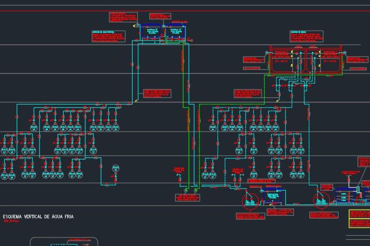 esquema vertical de reuso de água em dwg