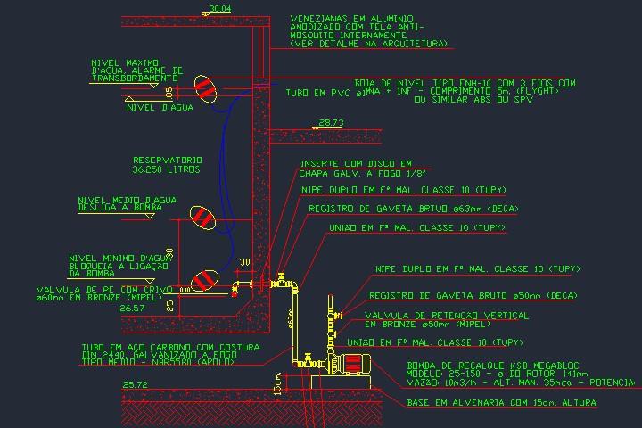 Montagem de bomba de recalque em reservatório inferior