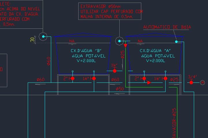 Representação de caixa d'água em esquema vertical hidráulico