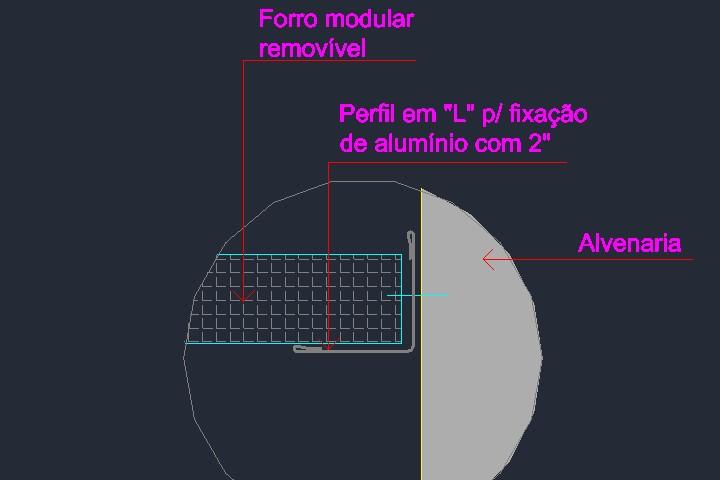 Fixação de forro em perfil L na alvenaria