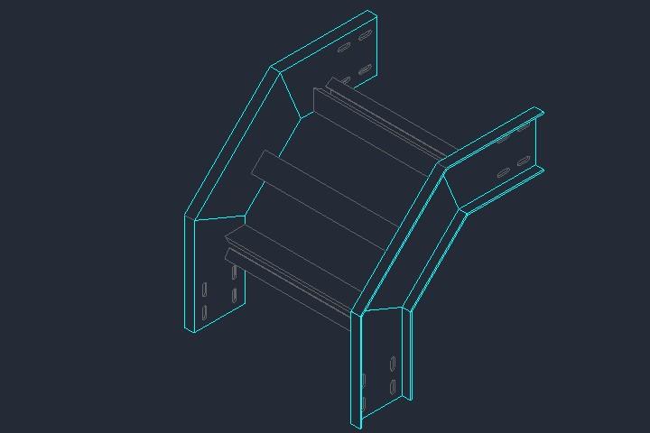 Leito para cabos com curva externa em dwg
