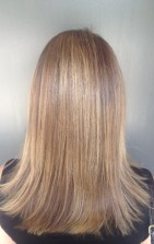 shiny golden brunette with highlights