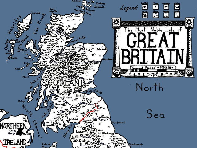 Fantasy map of Great Britain (Samuel Fisher)