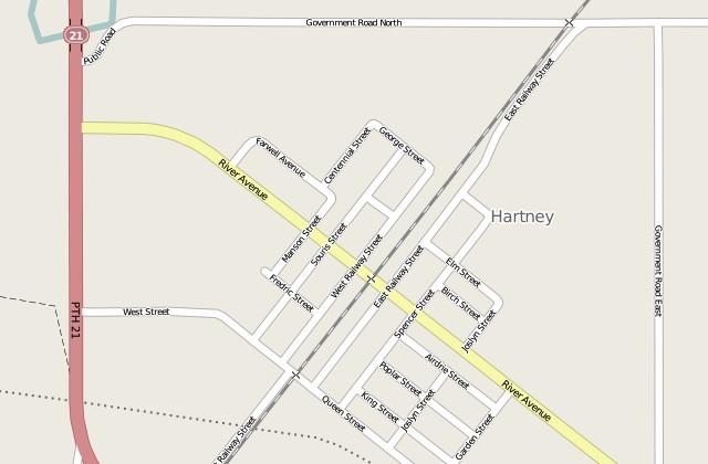 Screenshot of Hartney, Manitoba in OpenStreetMap