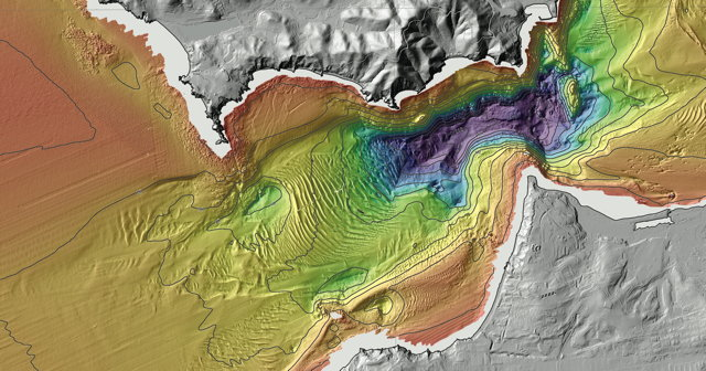 Colored Shaded-Relief Bathymetry Offshore of San Francisco, California