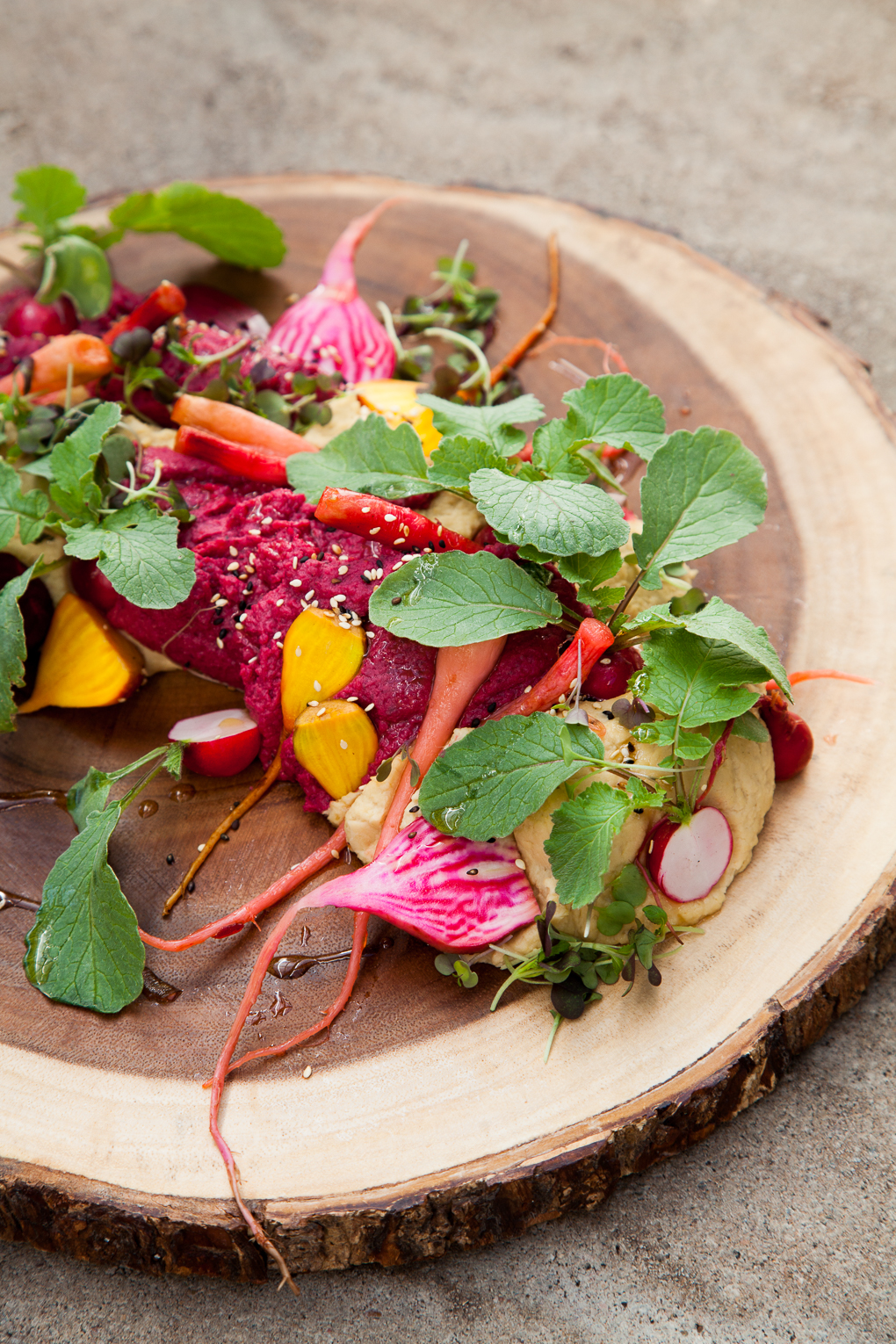 beet hummus, fresh & pickled farm vegetables, spring microgreen spread. Photograph by St. Louis Photographer Jonathan Gayman.