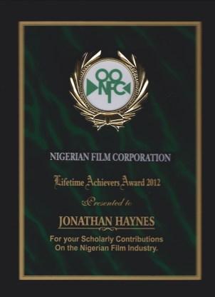 NFC award received at Zuma Film Festival, 2012