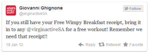 retort tweet from Virgin Active