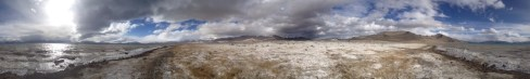 A poorly stitched panorama of Lake Kara Kul. For a 360-degree view, click on this photo.