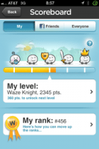 Waze Scoreboard - community based driving app with game features