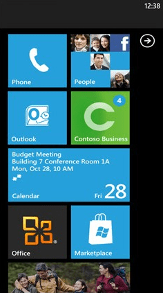 The Start screen of Windows Phone