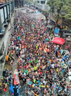 Songkran in Bangkok - Silom from above 22