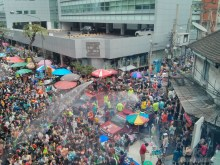 Songkran in Bangkok - Silom from above 23