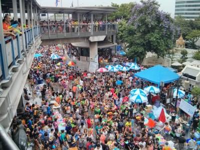 Songkran in Bangkok - Silom from above 29