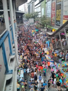 Songkran in Bangkok - Silom from above 5