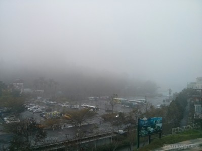 Sun Moon Lake - fog covered parking lot