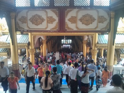 Yangon - Shwedagon pagoda descending east crowd