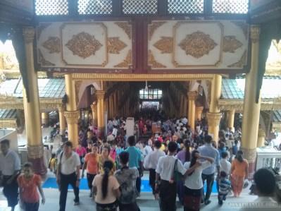 Yangon - Shwedagon pagoda descending east crowd