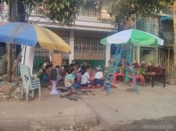 Yangon - monks blessing