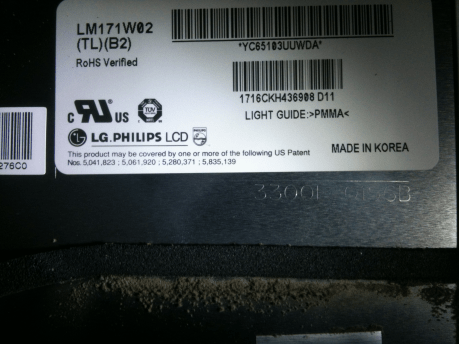 """iMac 17"""" Intel LM171W02 lcd screen part number"""