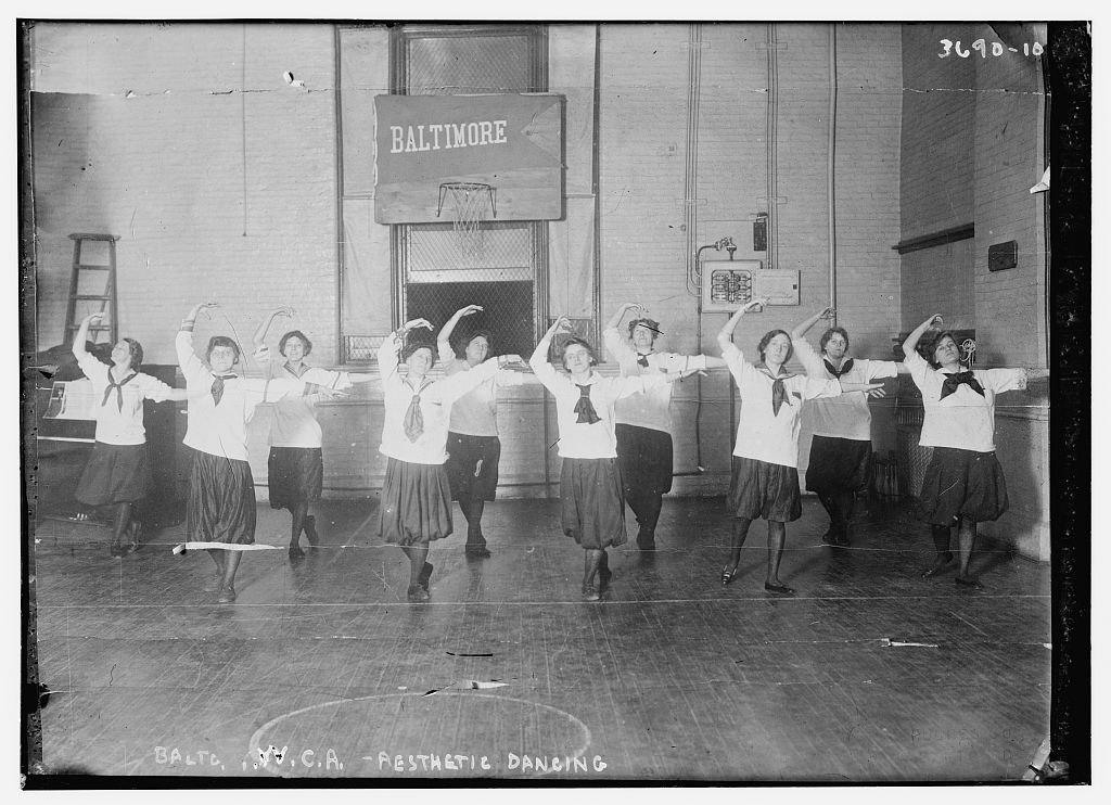 """""""Aesthetic Dancing -- Baltimore Y.W.C.A."""" Undated image from the George Grantham Bain Collection, Library of Congress. http://www.loc.gov/pictures/item/ggb2005020528/"""