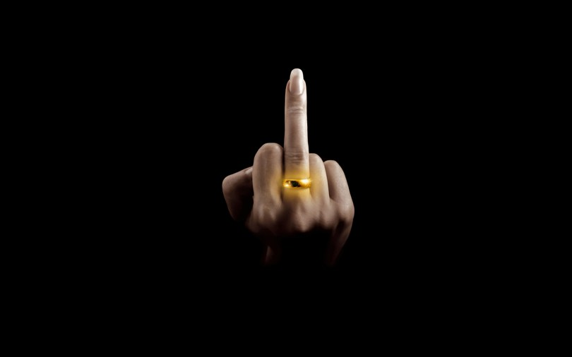 middle finger with ring
